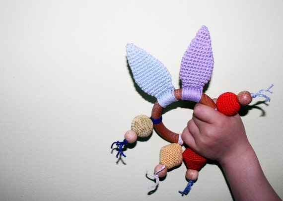 Baby Teething Crochet Toy / Rainbow Crochet Bunny /  All Natural Materials
