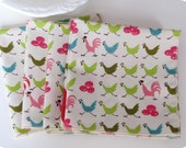 "Cloth Dinner Napkins, FREE SHIPPING, 12 (10"" x 10"") . Beautifully reusable and Eco friendly. Delightful Hens Collection."