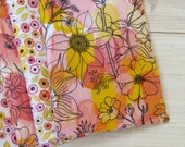 12 (for the price of 10) Organic Reversible Cloth Napkins. Beautifully reusable and Eco friendly. Water Color Flowers Collection.