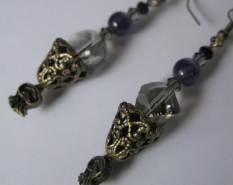 Smokey Quartz Swarovski Crystal, Amethyst Dangle Earrings