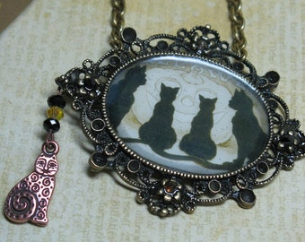 Halloween Cats Resin Photo on Vintage Bronze with  Swarovski Crystals & Charm Necklace