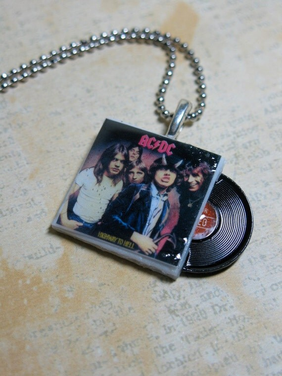 AC/DC Mini Album Pendant Necklace with Tiny Record Vinyl