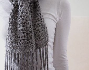 Heather Gray Puff-Shell Scarf