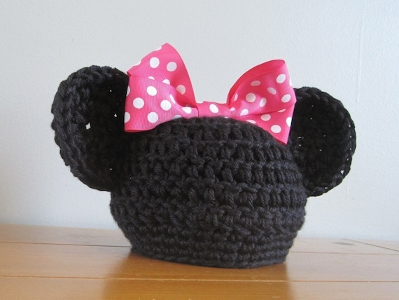 Minnie Mouse Hat wth Hot Pink Bow