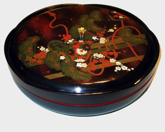 Vintage 6 Compartment Black Lacquer Lazy Susan With Cover Made