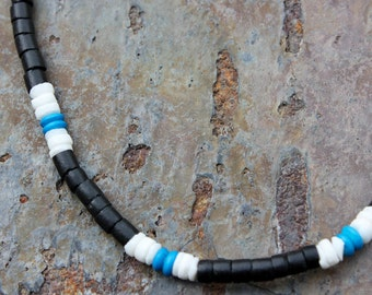 Necklace: Black Coconut Beads with White Litub Shells and Blue Dyed Bone Beads