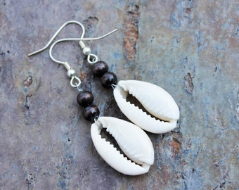 Earrings: Cowrie Shells with Two Wood Beads