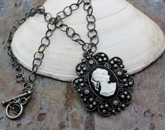 Neo-Victorian Cameo Necklace - Brushed Gray Chain
