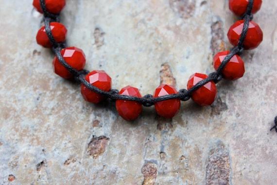Bracelet: Red Crystal Rondelle Drawstring