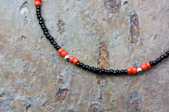 Anklet: Black with Red Accents