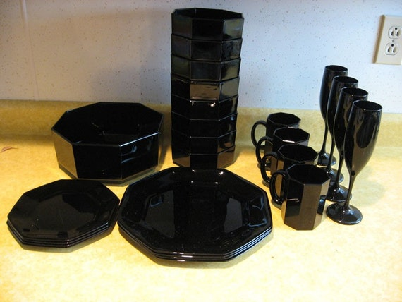 Vintage Black Octagon Shaped Dish Set Place Setting By