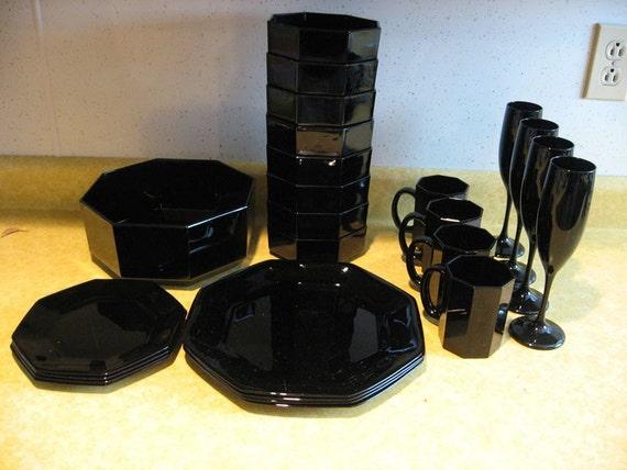 Vintage Black Octagon Shaped Dish Set Place Setting Dishes
