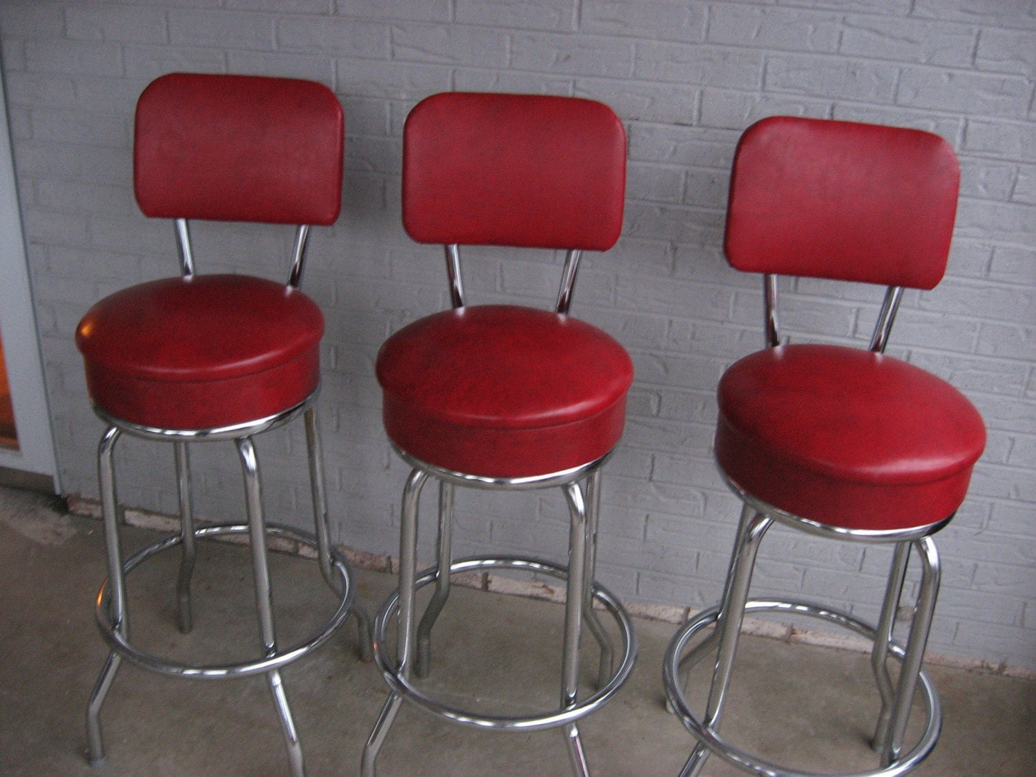 Three 3 Vintage Retro 1950s 1960s Red Bar Stools Excellent