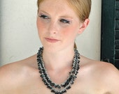 Black Spinel Necklace / Peacock Blue Freshwater Pearls / Double Strand / Gemstone Teardrops / Sterling Silver / Gifts For Her / OOAK