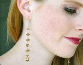 Rare Champagne Garnet Dangle Earrings / 14K Gold / Wire Wrapped / Long Gemstone Earrings / Bohemian / Champagne / Gifts For Her / OOAK