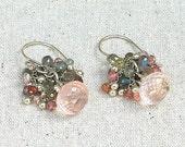 Rose Quartz, Labradorite & Spinel Cluster Earrings