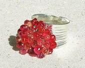 Wild Berry Quartz Cluster Ring