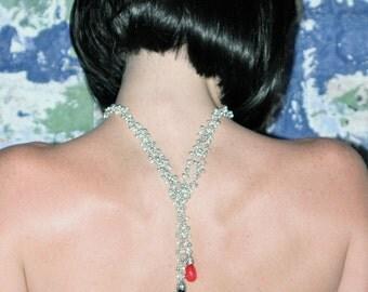 London Blue Topaz & Red Topaz Necklace / Sterling Silver / Gemstone Pendant / Teardrops / Wrap / Boho / Adjustable / Body Jewelry / OOAK