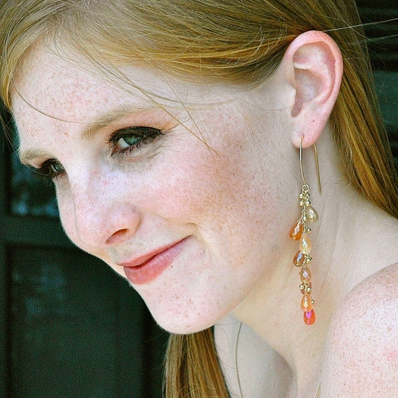 RESERVED... Autumn Tanzarine Quartz Gold Dangle Earrings