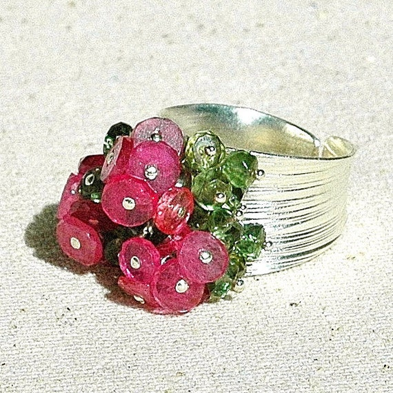 Christmas in July Sale - Pink Sapphire & Green Apatite Cluster Ring