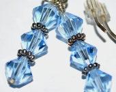 Powder Blue Swarovski Earrings (6mm crystals)