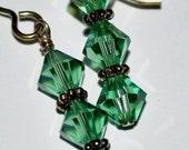 Green Tourmaline Faceted Swarovski Crystal Dangle Earrings Sterling Silver Daisy Bali Beads - Destash