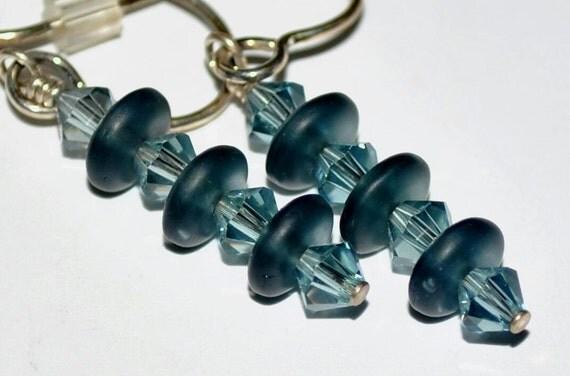 Smokey Dusty Steel Blue Swarovski Austrian Crystal Czech Glass Frosted Abacus Disc  Dangle Earrings Sterling Silver - Destash