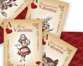 Alice in Wonderland Custom Valentines - Print Yourself, DIY Valentines