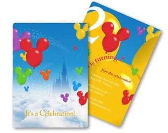 Disney Invitation with Mickey Mouse Balloons