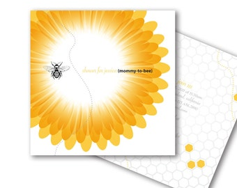 Bumble Bee Baby Shower or Birthday Invitation, Modern