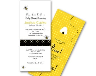 Bumble Bee Invitation for Baby Shower or Birthday, Polka Dot