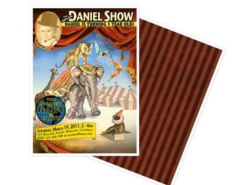 DIGITAL, Printable, DIY Vintage Circus Poster Birthday Invitation