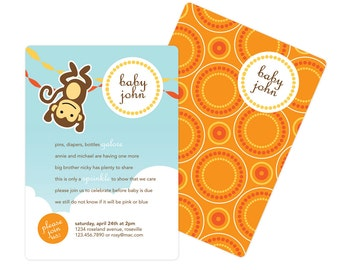 Monkey Baby Shower or Birthday Invitation with Custom Colors