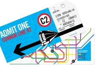 DIGITAL, Printable, DIY Subway Train Birthday Invitations - Custom, Train or Subway Tickets with Map