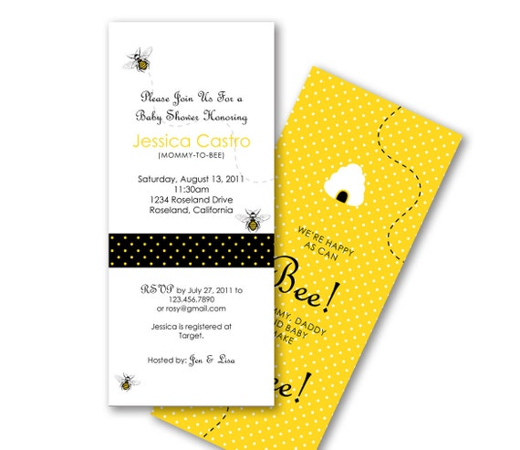 Bumble Bee Invitation for Baby Shower or Birthday