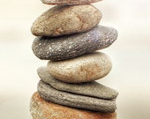 Breathe - 5x7 Fine Art Photography print - stack of beach stones against a light tan background