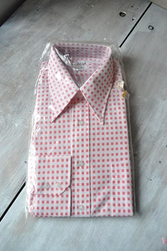 1970s mens large button down shirt