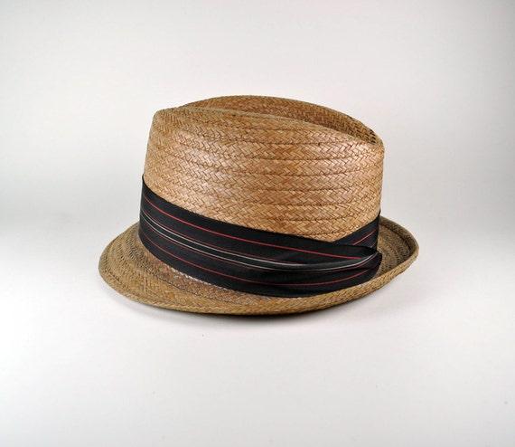 Reserved for Oliver Dobbs straw hat fedora 1950s
