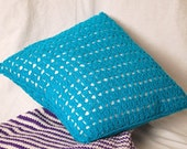 Teal Decorative Pillow crocheted blue textured home decor fluffy washable handmade