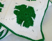 Shamrock afghan green white crocheted throw handmade granny square lap blanket warm winter spring home decor washable coverlet