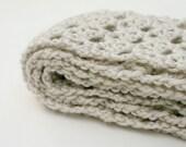 Off white scarf crocheted long handmade beige soft natural washable warm winter neckwarmer fashion