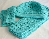 Turquoise beret scarf and fingerless gloves set crocheted adult women soft head covering neckwarmer neckwear washable fashion