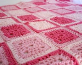 Baby blanket afghan pink granny square crocheted shower gift nursery crib home decor girl  throw washable warm winter