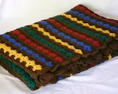 Granny Square Afghan crocheted blue green yellow red brown baby shower gift toddler adult lap throw blanket home decor coverlet washable