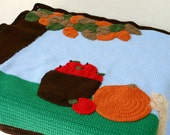 Fall scene afghan blanket crochet autumn throw leaves apples pumpkin squirrel sky sun tree harvest animal critter foliage gourd pomme