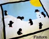 Penguin afghan PDF crochet PATTERN winter scene throw blanket critter bird snow sun snowman blue black white yellow playful cute home decor