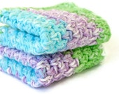 Crocheted cotton dishcloths green purple blue white set of 2 eco-friendly bright cleaning square functional washing scrubbers summer duo