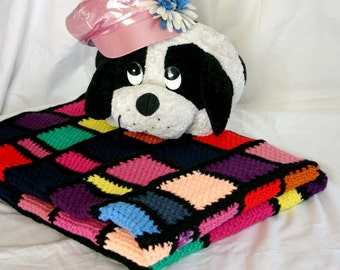 Scrap yarn afghan crocheted stained glass-style granny square lap throw multicolored warm winter blanket coverlet home decor washable