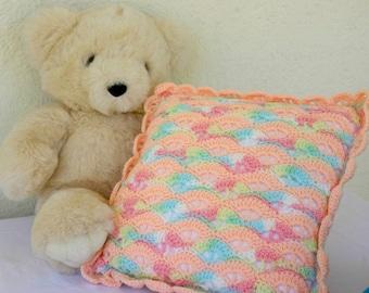 Crochet pillow peach rainbow decorative variegated shell stitch home decor feminine washable rainbow yarn
