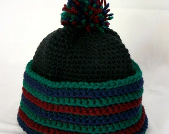 Black winter hat crocheted with or without pom-pom women red blue green jewel toned adult warm head covering